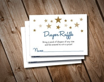 Digital Printable Twinkle Twinkle Little Star Baby Shower Diaper Raffle Cards