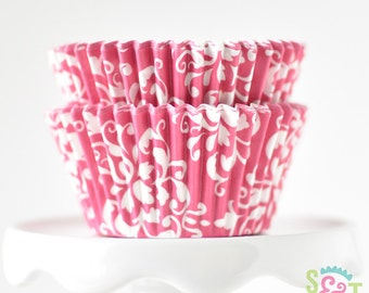 Damask Pink BakeBright GREASEPROOF Baking Cups Cupcake Liners | ~30 count
