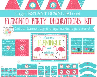 Pink Flamingo Birthday Party, Pink Flamingo Party Decorations, Printable Flamingo Party Kit, Girl Birthday, BeeAndDaisy, INSTANT DOWNLOAD