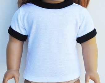 American Made Doll Clothes - Ringer Tee, White & Black, Top, Tshirt, Shirt, AG Doll, Separates