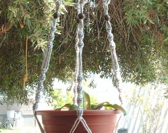 Macrame Plant Hanger 50in Button Knot BEADS -6mm - Pearl (Choose Color)
