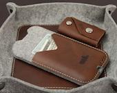 Samsung Galaxy S7, S6 wallet case - 100% wool felt, leather - KIRKBY Size 5.1