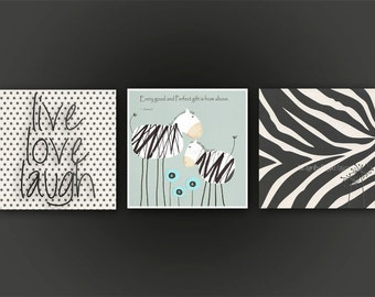 Cute Baby zebra For Sweet Baby boy - Nursery Wall Decor, set of 3, Every good, bible verse, zebra picture, teal, baby blue, black white