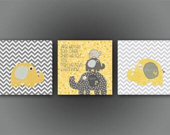 Kids Wall Art Nursery Decor // Baby Boy Room Art // Set of 3 print // Nursery Wall Art Decor // Yellow Gray // Elephant, gray chevron design