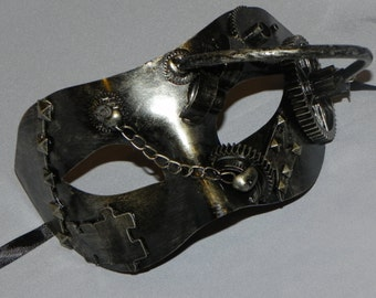 Pewter and Black Mask with Steampunk Detailing - Steampunk Mask
