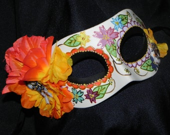 Multi Colored Day of the Dead Mask with Skeleton Accent - Halloween Mask