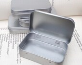 rectangular metal tins, blank hinged tins, color silver 50ml tin box, business card size (a set of 12 tins)