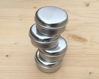 round metal tins, silver color 15ml tin box, lip balm box, diy container (a set of 50 boxes)