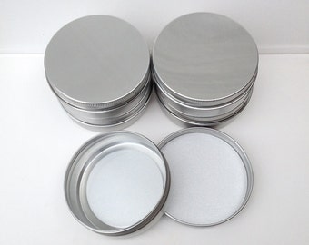 small metal tins, blank round silver color, 100ml screw lidded, aluminium tins, small storage (a set of 20 tins)