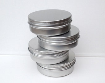 small metal tins, blank round silver color, 100ml screw lidded, aluminium tins, small organizer (a set of 12 tins)