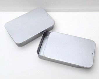 40ml sliding lid tins, rectangular metal tins, color silver, small organizer, small storage box, (a set of 100 tin boxes)