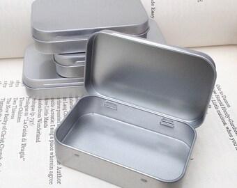 rectangular metal tins, blank hinged tins, color silver 50ml tin box, business card size (a set of 100 tins)