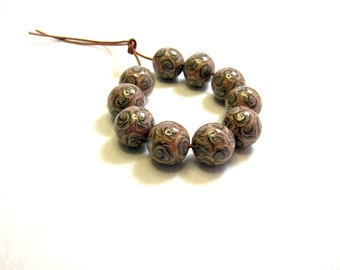 Handmade floral beads. Polymer clay beads. Millefiori beads. Fimo beads. Rose beads. Round small beads. Brown Grey beads
