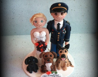 Wedding Cake Topper, Custom Cake Topper, Personalized, Polymer Clay, Bride and Groom, Military, Three Pets, Wedding/Anniversary Keepsake