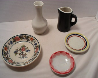 Mixed Lot of Antique Mayer and Shenango China Pieces One Chefsware Pitcher or Creamer