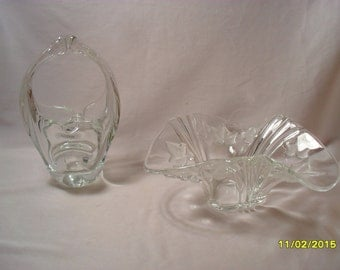 Lot of 2 Nice Heavy Glass Decorative Pieces of Clear Glass Bowl and Basket
