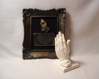 Lot of 2 Prayer Religious Spiritual Items Framed Prayer and Praying Hands
