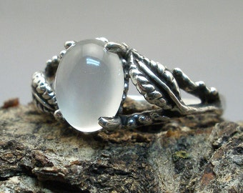 Moonstone Leaf Ring, Hand Crafted Recycled Sterling Silver, June, Cancer, Libra, Scorpio