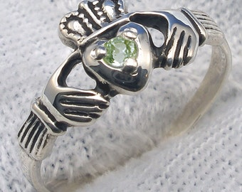 Peridot August Birthstone Claddagh Ring, Hand Crafted Sterling Silver Irish, Celtic Ring