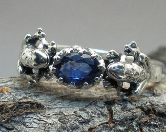 2 Frogs Ring, Natural Blue Sapphire, Hand Crafted Recycled Sterling Silver, September, Virgo birthstone