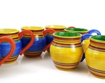 Santa Fe Pacific Rim Mugs / Set of 5 / Colorful Rainbow Coffee Mugs