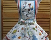 Cat in the Hat Inspired Party Pin Up Apron - One of a Kind