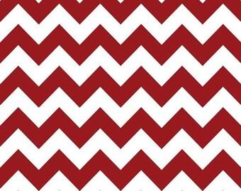 Summer Clearance Riley Blake Fabric - Half Yard of Medium Chevron in Crimson