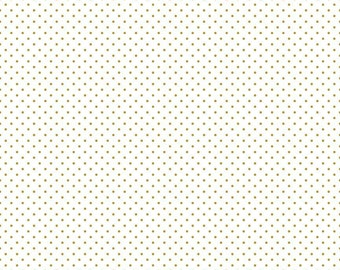 Riley Blake Fabric - 1 Yard of Sparkle Gold Swiss Dot