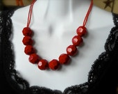 Vintage necklace, Chunky Reds, Vintage Lucite beads, Classy 50's, Vintage glass beads, Red hot, Adjustable, One of a Kind Keepsake.