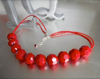 Red hot necklace, chunky red Vintage Lucite beads, Vintage glass beads, High Fashion, Adjustable, One of a Kind Keepsake.