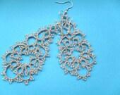 Tatted earrings - Long lace earrings - Dangle earrings - Chandelier earrings - Elegant earrings -   -Frivolite earrings-