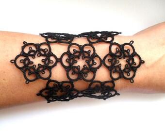 Tatted Lace Bracelet- Black Cuff Bracelet- Gothic Bracelet- Tatted Black Jewelry-Black Lace Jewelry