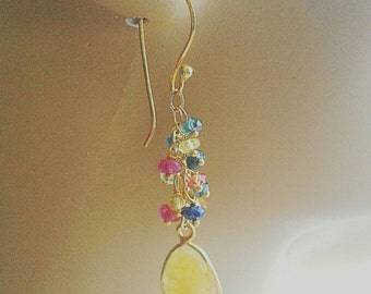 Mixed Sapphire Gemstone Cluster Earrings. Natural Sapphire Dangle Earrings on Gold Vermeil