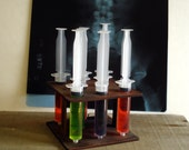 8 Shot Syringes and Wood holder Mad Scientist Lab Halloween Decorations Unique Drink Server Graduation gift