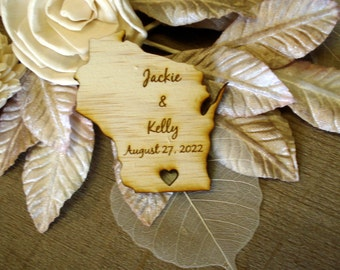 100 Wisconsin State Wedding Favors Custom Engraved