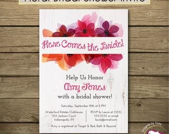 Romantic Blooms Bridal Shower Invitation - Printable