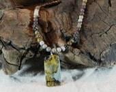 "Gray brown Chinese writing jasper necklace 17"" long reversible pendant Chohua jasper semiprecious stone jewelry gift bag 11689"
