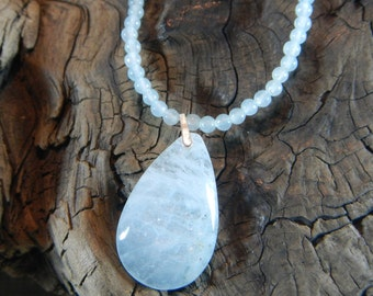"Pale blue aquamarine necklace 18"" long teardrop pendant semiprecious stone jewelry March October birthstone packaged in a gift bag 11863"