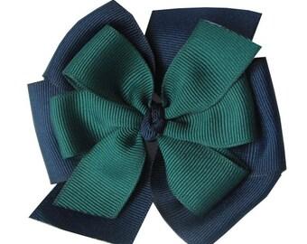 Navy Blue and Dark Green Stacked School Uniform Hair Bow, Girl Uniform Layered Bow, Blue Green Hair Clip