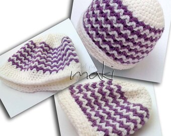 Crochet pattern - Baby girl or boy ripple beanie pattern! Beanie crochet pattern. Permission to sell finished items. Pattern No. 147