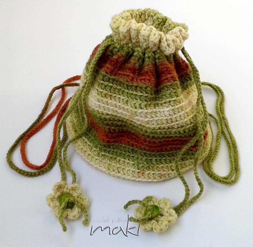 Crochet Drawstring Pouch Pattern : Crochet pattern Drawstring backpack crochet pattern Pouch