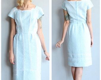 1950s Dress // Powder Blue Dress // vintage 50s dress