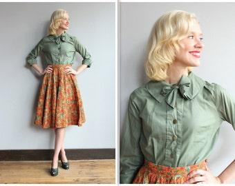 1950s Blouse // Dark Green Adrienne Blouse // vintage 50s blouse
