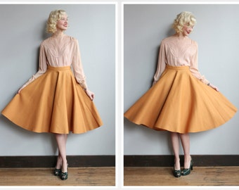 1950s Skirt // Gold Ronbury Wool Felt Skirt // vintage 50s skirt