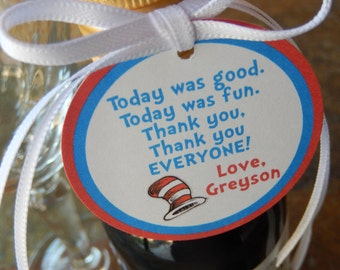"Dr. Seuss Birthday Thank You Favor Tags - For Cake Pops - Lollipops - Cookies - Desserts - Party Favors - (25) 2"" Personalized Printed Tags"