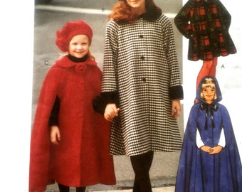 90s McCalls 9370 Girls Swing Coat or Cape with Hood and Hat - Size 7 Bust 26