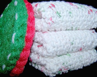 Christmas Holiday Dish Cloth with Pot Scrubber