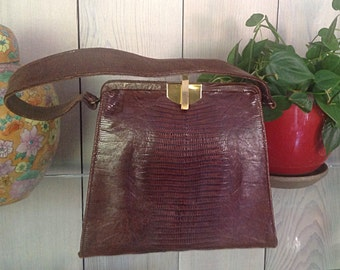 Vintage 50's Reptile Brown Purse Grace Kelly Style