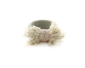Wild Poppy Bangle in Hand Dyed Cactus Green