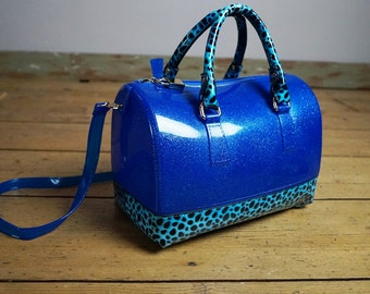 Vintage 80s Blue Avant Garde Hand Bag - Purse - Disco Bag with Leopard Print made of Hard Plastic